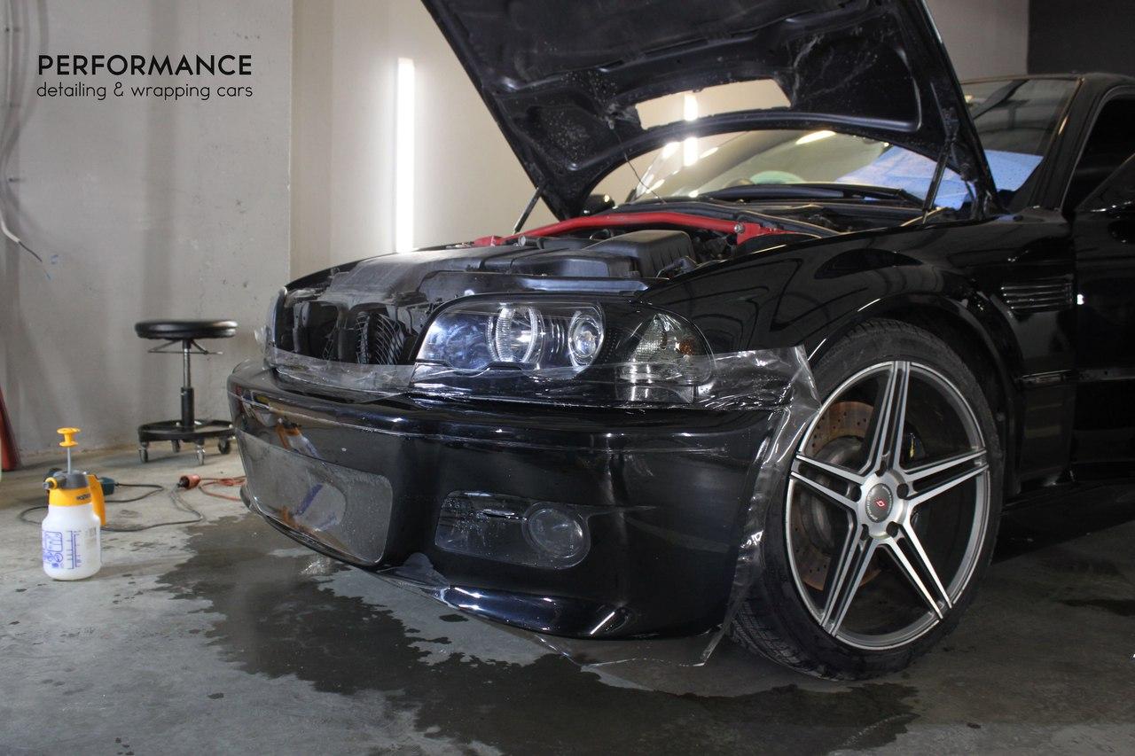 Оклейка антигравийной пленкой и тонировка на BMW M3
