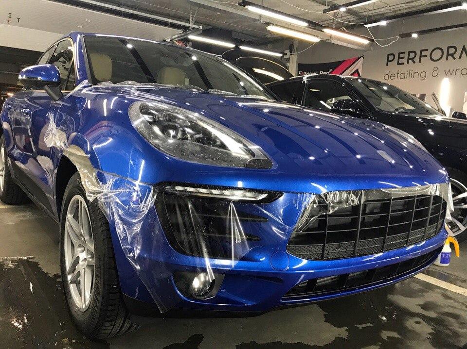 Оклейка Porsche Macan в полиуретановую пленку Hexis Bodyfence